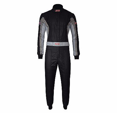 STR Club Race Suit Triple Layer FIA Approved 8856-2000 Black/Dark Grey/Grey