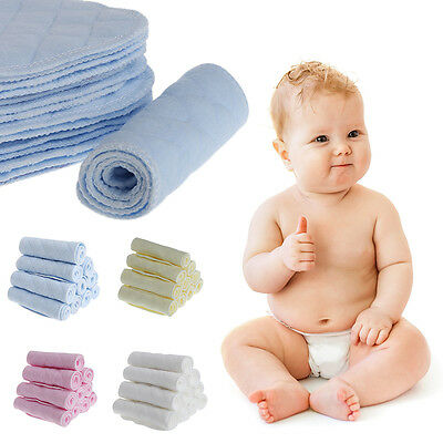 10Pcs Baby Diaper Insert Nappy Liner Breathable Absorbent Cotton Cloth 3 Layer