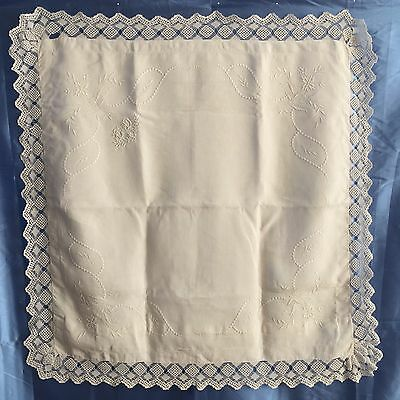 """Vintage French Linen Pillowcase Sham W/ Hand Embroidery """"cd"""" Mono 26-1/2"""" Square"""
