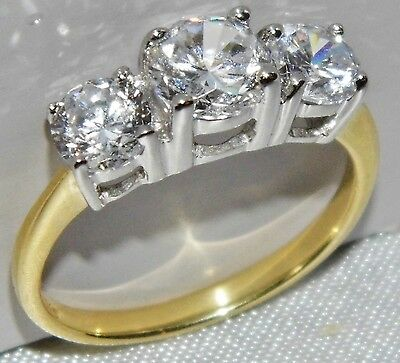 BEAUTIFUL 9 CT YELLOW GOLD & SILVER 1.75 CARAT 3 STONE ENGAGEMENT RING - size L