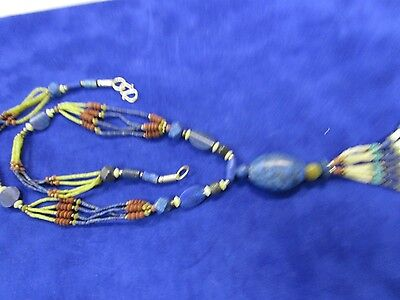 Vintage 80,sTribal Necklace with Lapis, Turquoise,  Pearl and Multi Gem Necklace