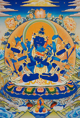 "* Happy Guhyasamaja 48"" Brocaded Scroll Blessed Thangka Tibet Secret Lord"