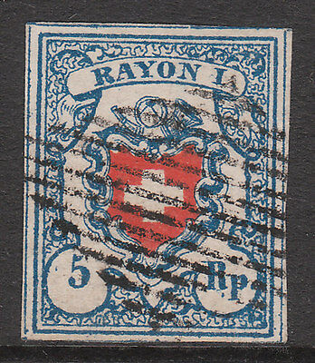 Switzerland 1851 #14 Rayon 1 Deep Blue Used Imperf Stamp