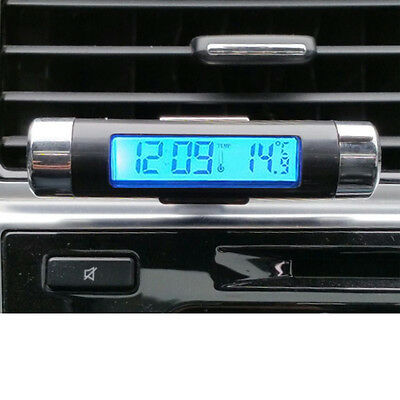 Car Air Vent Clip-on LCD Blue Backlight Thermometer Clock Dual Purpose black 1X