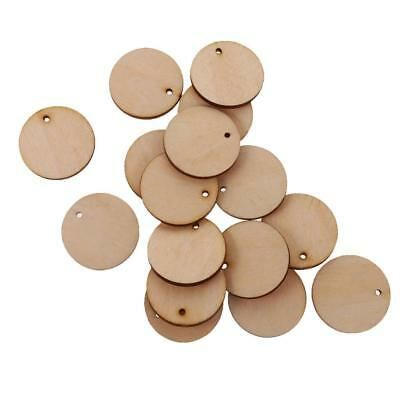 100pcs Unfinished Cut Out Wood Pieces Slice Hanging Gift Tags with Hole 30mm