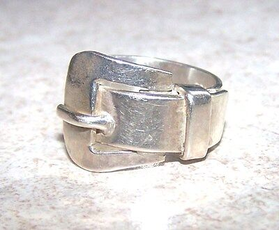 Nice Vintage Sterling Silver Mexico Buckle Ring Size 10.25 Weight 10.4 Grams