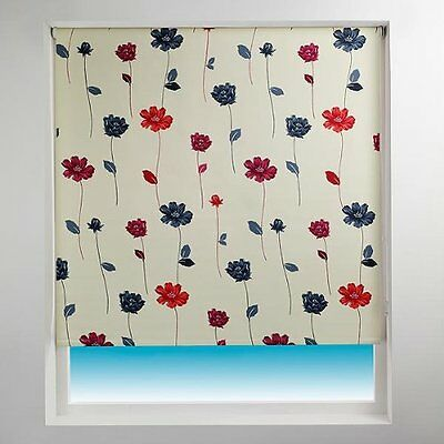 Sunlover THERMAL BLACKOUT Roller Blinds. Floral Trail Red. Widths 60cm -180cm