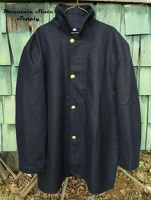 """Tag=34 Chest=44"""" US Civil War North Union Army Navy Blue Wool Sack Coat / Jacket"""