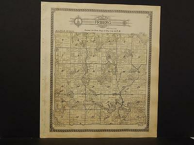 Minnesota Otter Tail County Map Friberg Elizabeth Township 1912 Dbl Side  K12#63