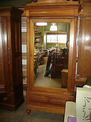 Antique One-door Pine Wardrobe 3 adjustable Shelves & Mirror in door. 9629