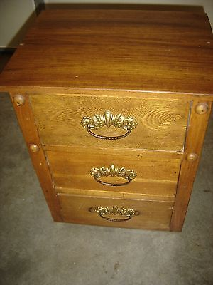Antique Chestnut Night Stand w/ 3 Drawers 9630