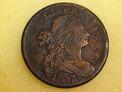 1807 7/6 7 over 6 Draped Bust Large Cent VF details