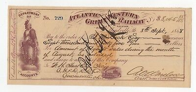 1868 Atlantic and Great Western Railway Check
