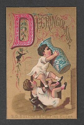 """Victorian Trade Card S.d. Sollers Shoes Alphabet  """"d"""""""
