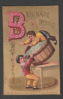 "Victorian Trade Card S.d. Sollers Shoes Alphabet  ""b"""