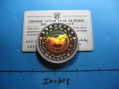 2 Oz 2002 China Chinese Lunar Horse Hologram Rcm Ghana 999 Silver Coin 1000 Made