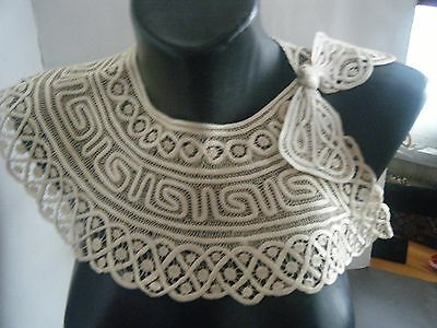Edwardian French HM Collar combo of needle lace & fine sateen HM bias ribbon.