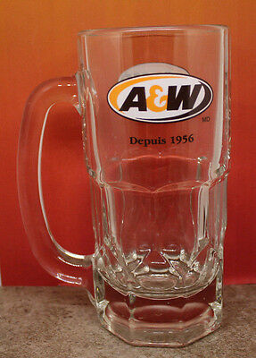"A&W Canada Advertising Root Beer Logo Glass Mug Stein 17.5 cm 6 7/8 "" Tall VTG"