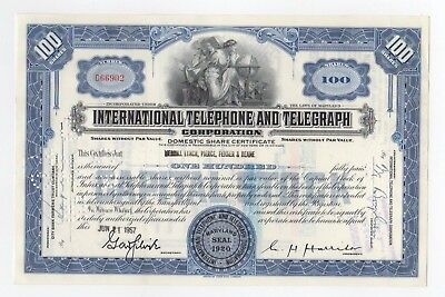 International Telephone and Telegraph Stock Certificate