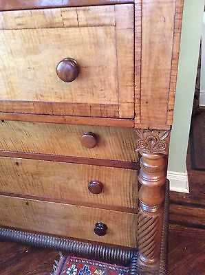 Antique Tiger Maple Chest Of Drawers Bureau Side Board Circa 1850  Pickup Only