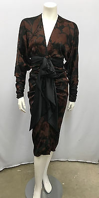 Vintage Galanos Silk Dress Amazing Ruching Brown And Black Floral Print Small S
