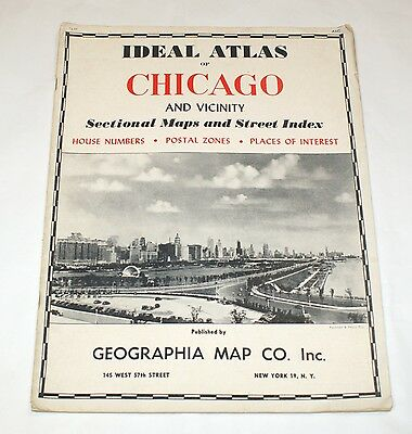 Ideal Atlas of Chicago and Vicinity Sectional Maps Street Index Numbers USA 1950