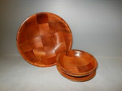 Mid Century Vintage Medium Tone Weavewood Round Wood Serving Bowl Lightweight