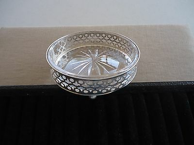 Vintage GORHAM A6944 Sterling & Glass Wine Coaster