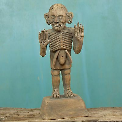 Ceramic Sculpture Day of the Dead 'Aztec God of Death' NOVICA Mexico