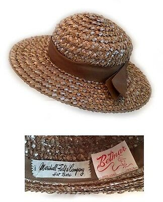 1a04276a44f0e VINTAGE 1960 S Straw Hat From Marshall Fields   Co. Chicago -  92.00 ...