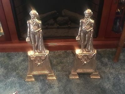 Pair Of Beautiful Brass George Washington Andirons 19Th Century