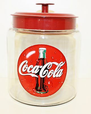 Coca Cola Cookie Jar Canister~~Glass