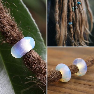 3 Natural Opalite Gemstone Dreadlock Beads 5mm Hole (3/16 Inch)