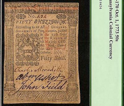 Oct. 1, 1773 Pennsylvania Colonial Currency Note Paper Money Pcgs Ef 40