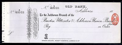 Burton, Uttoxeter & Ashbourn Union Bank, 18(84), Unused, with counterfoil.