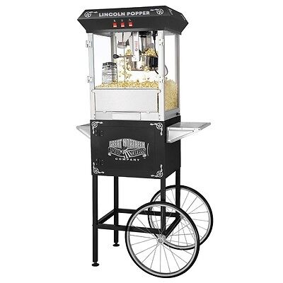 Great Northern Popcorn Black Antique Style Popcorn Popper Machine w/Cart 8 Oz