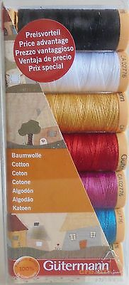 Gutermann Cotton Thread Set  For All Purpose Sewing -7 Reels Of Assorted Colours