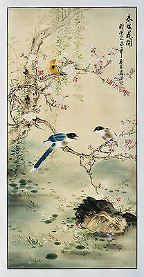 """48"""" Brocade Traditional Chinese Watercolor Silkprint: Three Spring Messages ="""