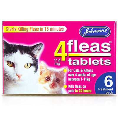Johnsons 4Fleas Cats & Kittens Flea Tablets - 6 Treatments - Flea Killer 4 Fleas