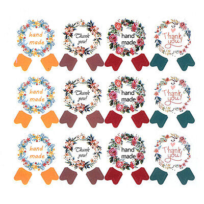 NEW 120pcs Garland Seal Stickers Hand Made Thank You DIY Wedding Gift Bag Decals