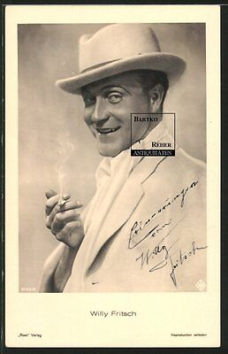 Willy Fritsch Original Schauspieler Autograph Ross-Foto-AK ca. 1940 Ufa