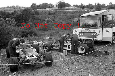 Gold Leaf Team Lotus Garage Area French Grand Prix 1970 Photograph