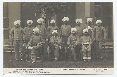 Indian Sikh Soldiers Convalescing Brighton Pavilion World War 1 7x5 Repro Photo