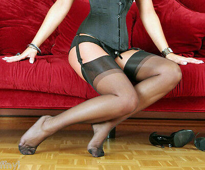 Eleganti RHT 'CARESSE' - Slingback Stockings / Nylons - BLACK Imperfects
