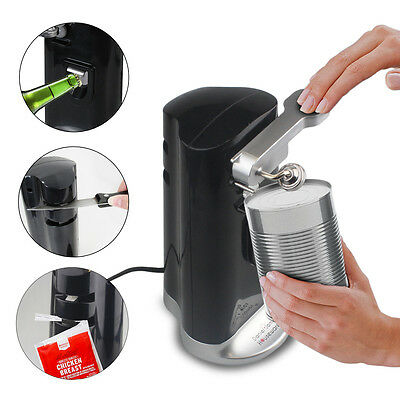 Electric Can Opener Knife Sharpener 4-in-1 Automatic Bag Cutter Tin Beer Bottle