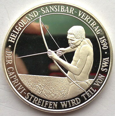 Namibia 1990 100 Years of Helgoland Sansibar Treaty 1oz Silver Coin,Proof,Rare!