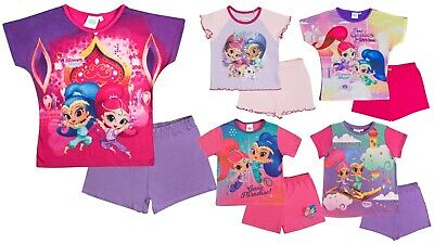 Girls Shimmer And Shine Short Pyjamas Short Sleeved Shortie Pjs Set Kids Size