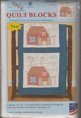 """1 Pk Jack Dempsey """"Barn"""" Stamped Xstitch/Embroidery Quilt Blocks"""