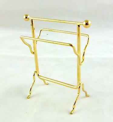 Dolls House Miniature 1:12 Scale Bathroom Accessory Brass Towel Rail Rack Stand