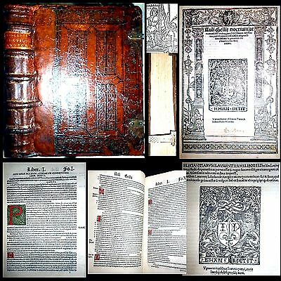 1517 Attic Nights Aulus Gellius & 1507 Latin Language Laurentius Valla Leather $